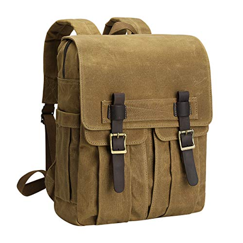 S-ZONE Waxed Canvas Waterproof Camera Backpack for DSLR/SLR