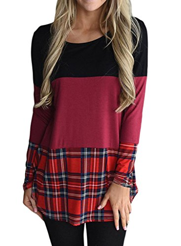 ROSKIKI Women's Casual Striped Plaid O Neck Long Sleeve Pullover Blouse Tunic Tops T Shirts