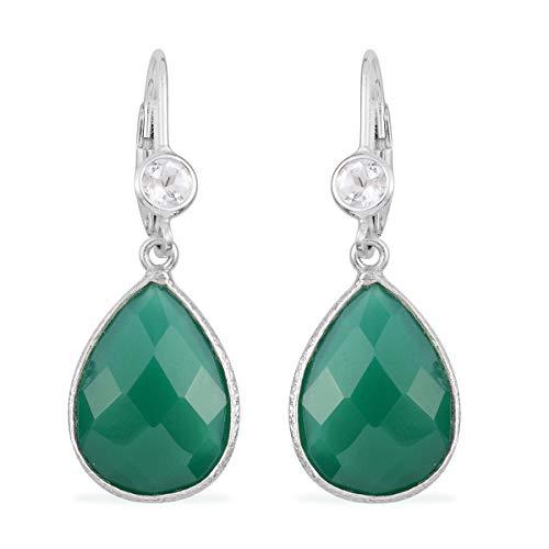 Topaz Onyx - 925 Sterling Silver Pear Green Onyx White Topaz Dangle Drop Earrings Gift Jewelry for Women