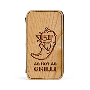 Carved on Wood As hot as Chilli Premium Faux PU Leather Case, Protective Hard Cover Flip Case for Apple? iPhone 4 / 4s by Chargrilled + FREE Crystal Clear Screen Protector