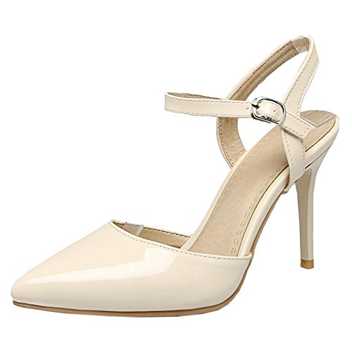 TAOFFEN Women's Pointed Toe Sandals Shoes Beige-2 VRMdQVgAW