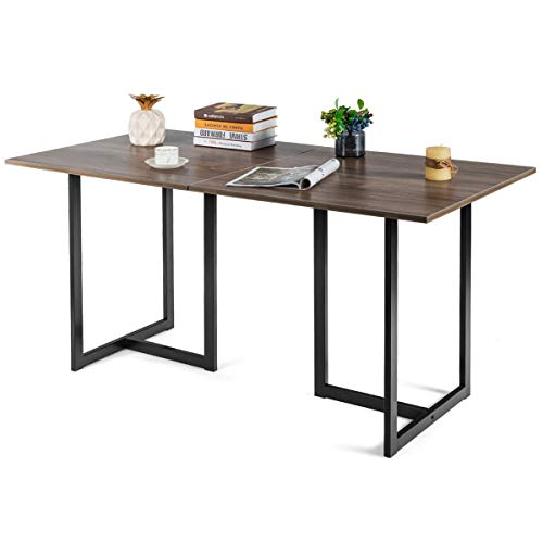 Tangkula Industrial Kitchen Dining Table, Modern Multifunctional Desk with Solid Iron Frame, Kitchen Table for Dining Room or Living Room (Light Brown)