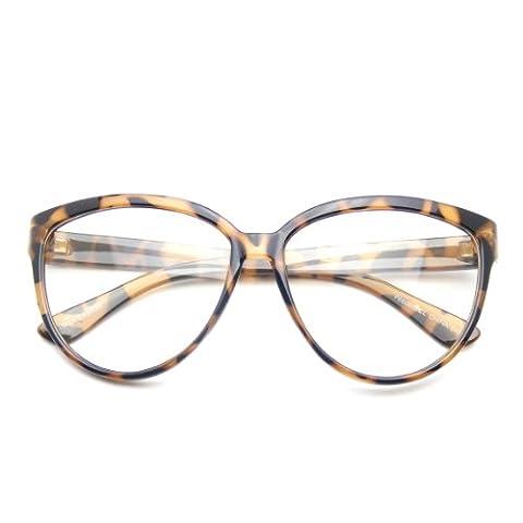 Womens Oversize Retro Nerd Clear Lens Fashion Cat Eye Geek Glasses (Tortoise Brown)