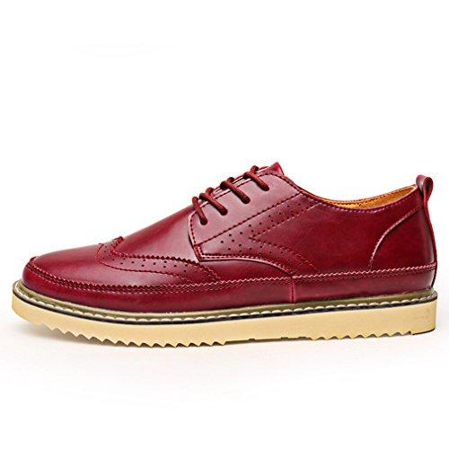 [QIFENGDIANZI]靴 メンズ モカシン ウォーキングシューズ カジュアルシューズ レースアップ イギリス風 クッション コンフォート 通気性 滑り止め 通勤 黒 ブラウン ワインレッド イエロー