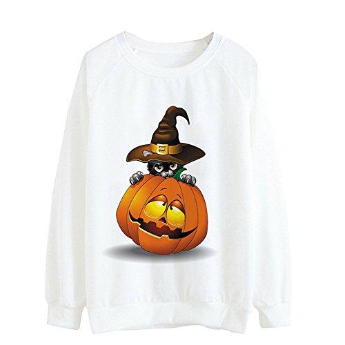 Halloween Women Shirts for Work,Lady Long Sleeve O Neck Pumpkin Casual Blouses Fashion Pullover Top Sweatshirt(Cotton) -