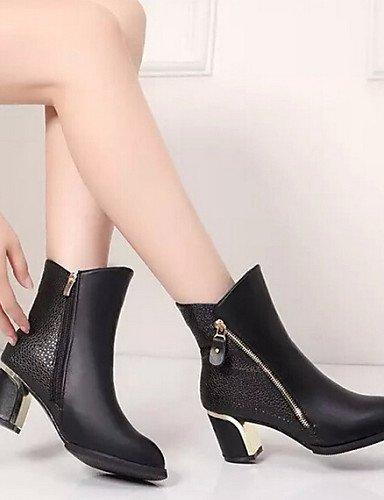 Xzz Negro Tacón De Uk6 Vestido Eu36 5 Burgundy Black Rojo Zapatos Robusto 5 us6 Botas Comfort Mujer Casual Semicuero Eu39 Cn40 us8 Cn36 Uk4 tvvxw4r
