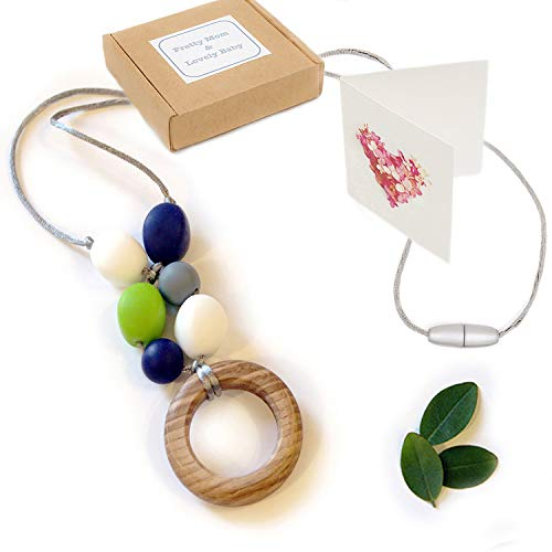 'Oak Ring' New Teething Necklace, Gift Box & Greeting Card; Natural Organic Oak Wood & Silicone Beads Jewelry