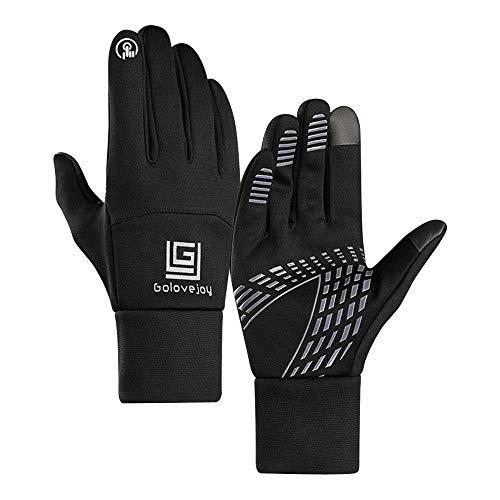 Gloves,Longay Men Winter Screen Thicken Riding Windproof Waterproof Warm Leather Glove (L, Black) ()