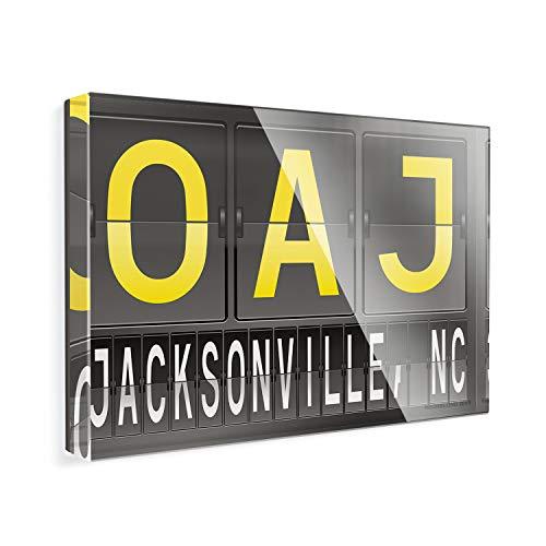- Acrylic Fridge Magnet OAJ Airport Code for Jacksonville, NC NEONBLOND