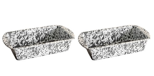 Crow Canyon - Set of 2 Enamelware 1.5 Quart Loaf Pans - Each Pan is 9 Inches Long by 5 Inches Wide by 2.5 Inches Tall (Grey Marble) from Crow Canyon Home