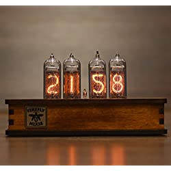 Nixie Tube Clock 4x IN-14 Nixie Tubes Vintage Retro Desk Clock Fully Assembled and Tested Wooden Alder Case Firefly