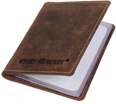 Greenburry Vintage Kreditkartenetui Leder Visitenkartenetui Etui braun - 9,5x7x1cm