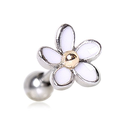 316L Surgical Steel Sweet White Daisy Cartilage Earring (White Daisy Earrings)