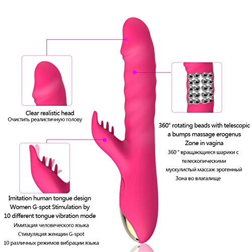 Rotation Telescopic 10 Speed Powerful Dildo Rabbit Vi-brator for Women Clitoris Stimulation Massage Vi-brator Adult Sex Toys Rose by Yincoo (Image #4)