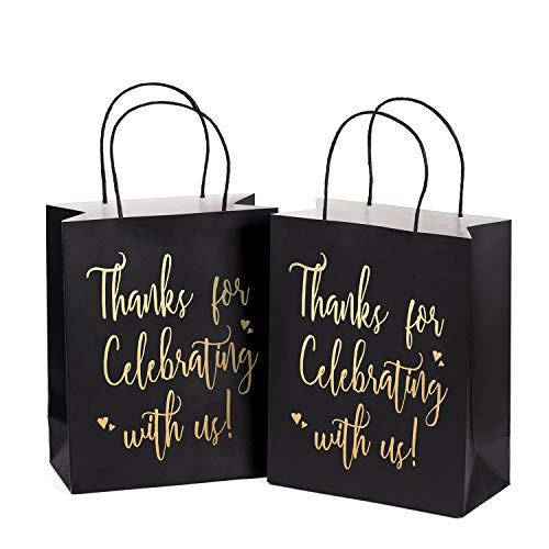 Black And Gold Party Favors (LaRibbons Medium Size Gift Bags - Gold Foil