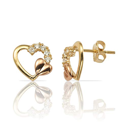 Real 14K Yellow and Rose Gold Heart and Heart Earrings With CZ Accents for Women and Girls ()