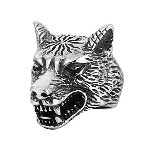 (Guraxi Vintage Prairie Wolf Men's Titanium Steel Ring Size 12)