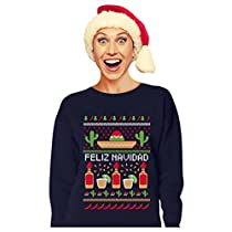 Tstars Feliz Navidad Mexican Ugly Christmas Sweater Funny Xmas Women Sweatshirt Medium Black