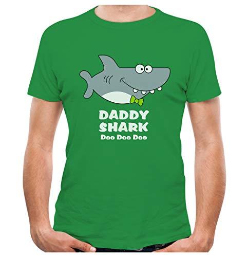 Daddy Shark Doo doo doo Fathers Day Men's T-Shirt Medium Green
