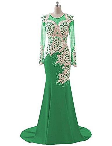 Meerjungfrau 1 Kleid Langarm Abendkleid Abendkleid Applikationen Boden Mieder Love Sheer King's Strass L Gr¨¹n Perlen nge Frauen Spitze wqxOFWTI