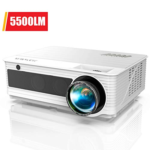 Native 1080P Projector, YABER Movie Projector with 5500 Lumens 70,000 Hours X/Y Zoom Function, Full HD Video Projector Compatible with iPhone,Android,PC,TV Box,PS4 for Home/Outdoor/Gaming