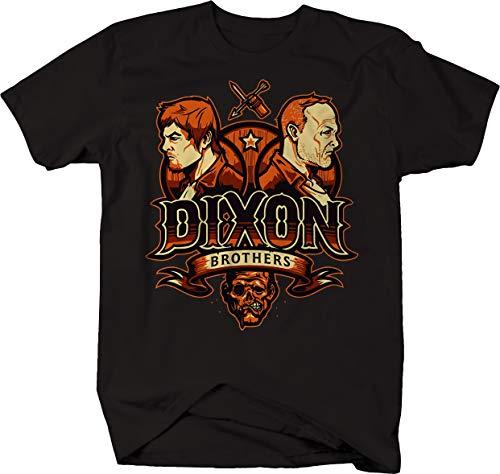 Dixon Brothers Crest Daryl Merle Cartoon Dead Tshirt for Men 4XL Jet Black