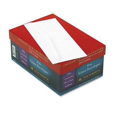 (25% Cotton #10 Envelope, White, 24 lbs, Linen, 250/Box, FSC )