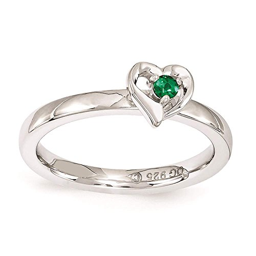 Emerald Sterling Plated - 925 Sterling Silver Polished Rhodium-plated Created-Emerald Heart Ring by Stackable Expressions Size 6