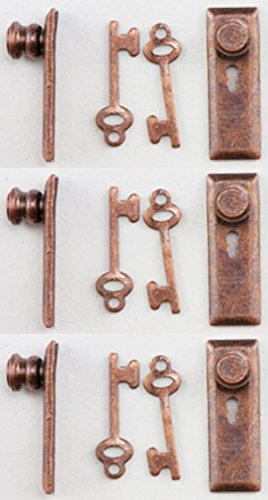 Dollhouse Miniature 1:24 Scale Door Knobs and Back Plate with Keys in Bronze Finish by Handley House