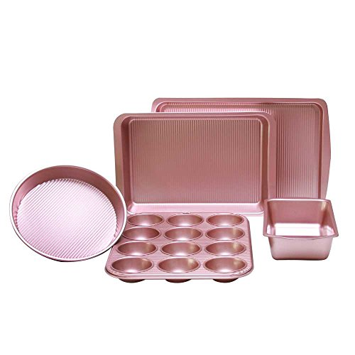5 Piece Bakeware Set Nonstick-Baking Sheet with Cake Loaf and Muffin Pans and Square Baking Pan - also has Large Roasting Pan - Non Stick Carbon Steel Metal (Carbon Steel Non Stick Muffin Pan)