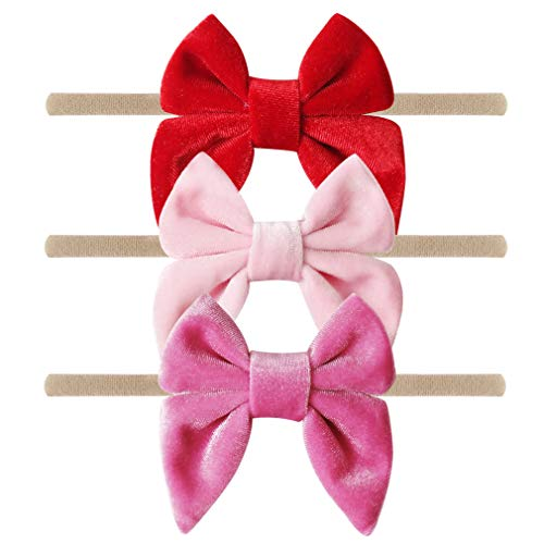 Red Bow Velvet - YanJie Baby Girl Soft Velvet Headband - 3 Pack Simple Nylon Headband Baby Gift Photography Hair Bow (red-Velvet)