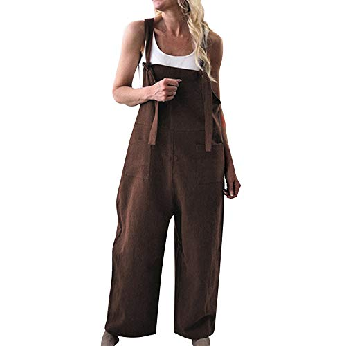 Women Strap Front Pockets Wide Legs Casual Loose Solid Color Jumpsuits (Coffee, XL) -