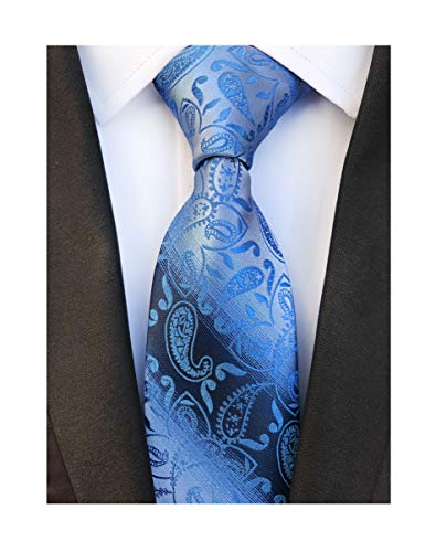 (Mens Royal Blue Paisley Silk Tie Fashion Thanksgiving Dress Necktie Father's day)