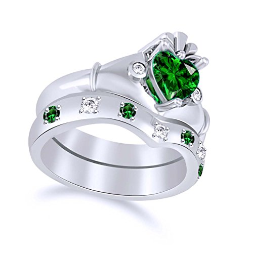 AFFY Heart Cut Simulated Emerald & White Cubic Zirconia Claddagh Wedding Ring Set in925 Sterling Silver Ring Size-5.5