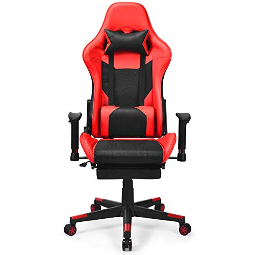 Giantex High Back Executive Recliner Racing Style PVC Office Chair Gaming Chair (Black&White&Red) Giantex