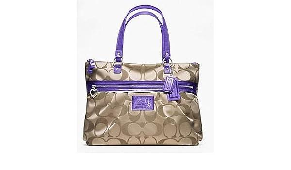 Amazon.com: Coach F20026 Daisy Signature Khaki Violet Tote Handbag Purse: Shoes