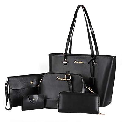 Soperwillton Women Fashion Handbags Shoulder Bags Tote Satchel Purse Set 5pcs