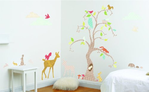 Funtosee Wall Decal Nursery Decor Kit, Woodland Tree (Wonderland Scroll)