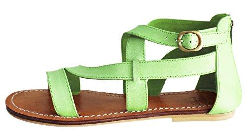 11sunshop - Sandalias de Vestir de Otra Piel Mujer Verde