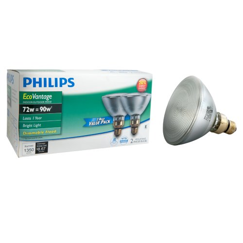 046677419417 - Philips 429373 Halogen PAR38 90 Watt Equivalent Dimmable Flood Standard Base Light Bulb, 2 Pack carousel main 0