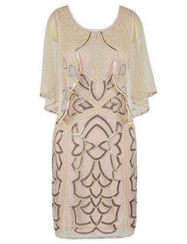 c6dee834 PrettyGuide Women's Flapper Dress 1920s Gatsby Inspired Sequin Art Deco  with Cape