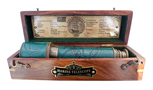 MAH 18 Inch Brass Ship Captain Telescope/Brass Spyglass with Hardwood Box. C-3111 from MAH