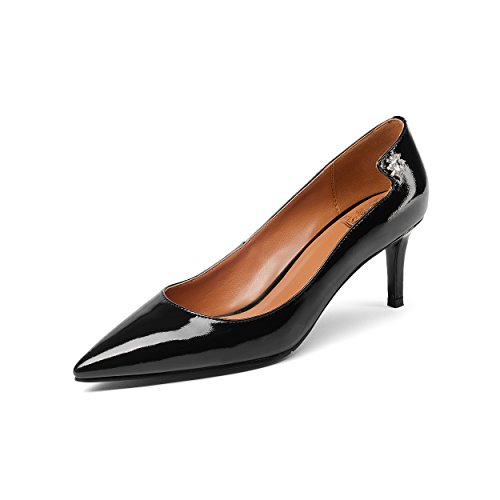 JIEEME Ladies Sexy Stiletto Genuine Leather Crystal Back Mid Heels Casual Women Court Shoes Black
