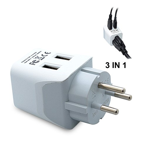 Israel Plug (Ceptics USA to Israel, Palestine Travel Adapter Plug  With Dual USB - Type H  -  Ultra Compact)