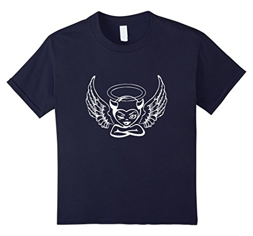 (unisex-child Angel Devil T-Shirt For Women and Kids 12 Navy)