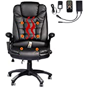 Black Executive Computer Desk Office Ergonomic Heated Vibrating Massage Chair