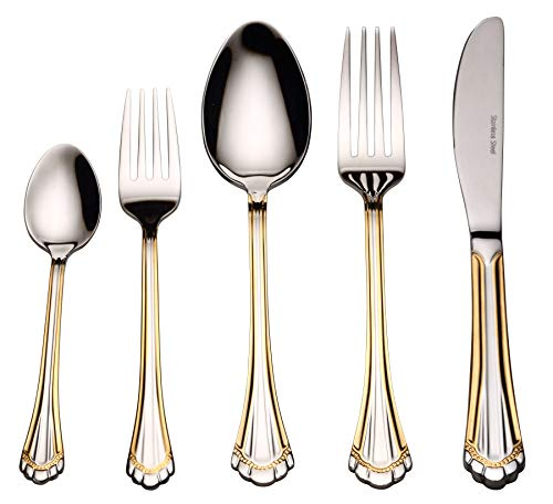 Flatware Set 20-Piece Service for 4, 18/10 Stainless Steel Silverware Cutlery, 24k Gold Plated Accent (gold sets) (Grand) ()