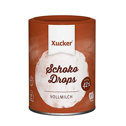 Xucker Schoko Drops Vollmilch Schokolade 200g - Zuckerreduzierte Xucker Schokolade mit Xylit Zuckerersatz I Xucker Chocolate Drops als Süßungsmittel zum Backen (min. 42% Kakaoanteil)
