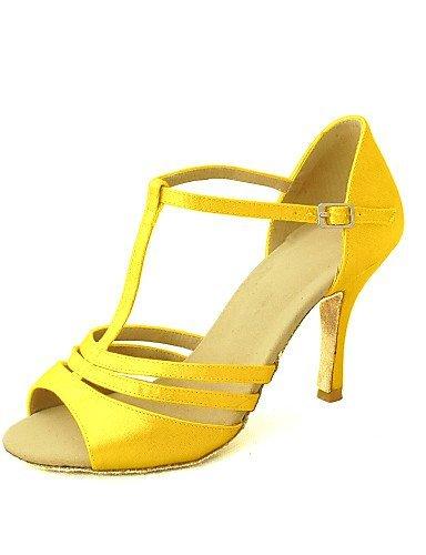 ShangYi Customizable Women's Dance Shoes Latin/Salsa Satin Customized Heel Black/Blue/Yellow/Pink/Purple/Red/White/Fuchsia bronze 8OHypqox9u