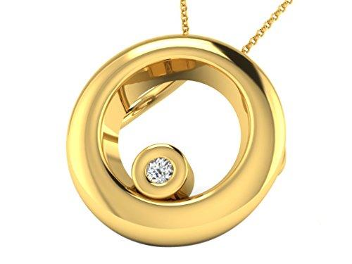 Argent Jaune 92 ct Pendentifs Diamant en forme de rond, 0.01 Ct Diamant, GH-SI, 1.2 grammes.